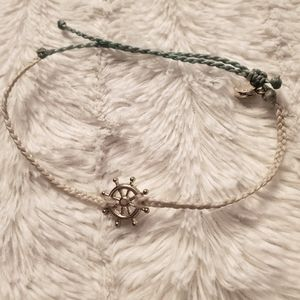 3/$15 Pura Vida Cream and Blue Wheel Bracelet